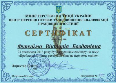 Сертифікат семінару 2013 року
